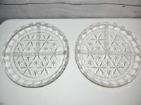 "Vintage 7"" Round Clear Glass Relish Candy Dish 3 Divided Sections Set of 2"
