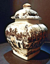 Antique Victoria Ware Ironstone / Brown Transferware Covered Ginger Jar