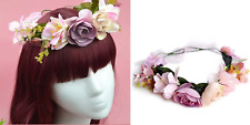Flower Crown with Wire Headband and Ribbon Tie
