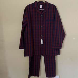 NWT Brooks Brothers Men's Red & Navy Plaid Classic Pajama Set Shirt & Pants - L