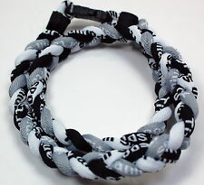 "NEW! 20"" Black White Gray Grey Titanium Necklace Tornado Baseball FREE SHIPPING"