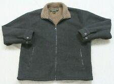 Oscar Sports Gray Poly Fleece Jacket Coat Zipper Front Mens Long Sleeve Large