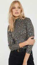 Mint Velvet Foil Animal Print Polo Neck Top T-Shirt Grey Multi Size M UK 12 14