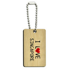 I Love Singapore Written on Paper Wood Wooden Rectangle Key Chain