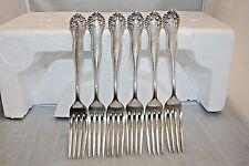 """Set of 6 Lancaster By Gorham Sterling Silver Dinner Fork 7 5/8"""" Monogrammed """"F"""""""