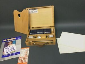 Grumbacher oil paint set with wood case Artist Oil Color Set MINT 1960's UNUSED!