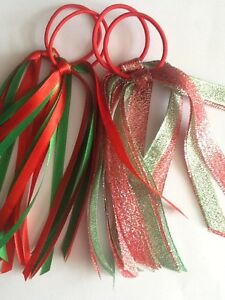 2x Christmas Polka Sparkle Glitter Streamer Hair Ribbons Bobble Band Angel
