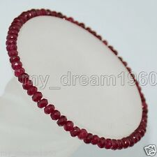 """Natural 2x4mm Faceted Red Rbuy Abacus Beads Roundlle Gemstone Bracelets 7.5"""""""