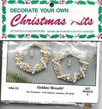 NIP!!VTG!!MERRI MAC BEAD KIT GOLDEN WREATH ORNAMENTS MAKES 2