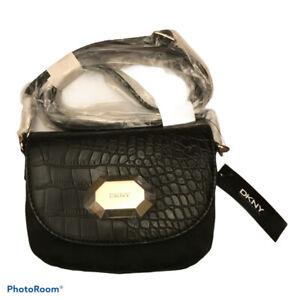 DKNY Small black canvas crossbody bag / clutch with croc pcv trim