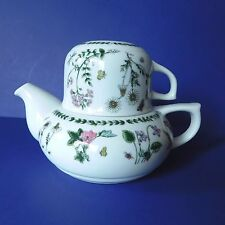 Andrea Sadek Tea Pot 6 Oz Cup Japan Multi Colored Flowers Green Leaves White