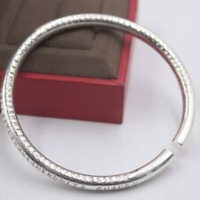 Buddhist Sutra Round Cuff Bangle 58-60mm New Solid 999 Fine Silver Bangle