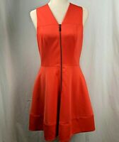 Vince Camuto Fit Flare Dress 6 Orange Full Zipper Front Lined Pockets Sleeveless