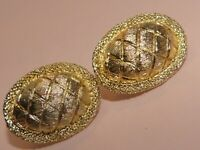 Jewelcraft signed vintage oval brushed gold-tone clip-on earrings