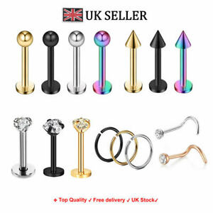 Set of 15 Surgical Steel Ball Labret Lip Ring Tragus Helix Earring Stud Piercing