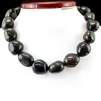 1155.50 CTS NATURAL UNTREATED RICH BLACK ONYX BEADS NECKLACE - FREE SHIPPING
