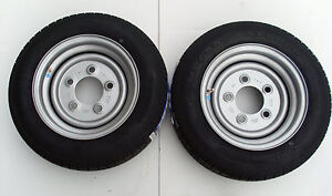 2 OFF 155/70 R12 TRAILER WHEEL/TYRES - 5 STUD 140MM PCD, NO OFFSET