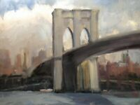 VINTAGE BROOKLYN  BRIDGE NEW YORK CITY SKYLINE  STUDY IMPRESSIONIST PAINTING