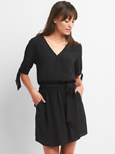 Gap Tie-Sleeve Wrap Dress, true black Sz XXL (18116)