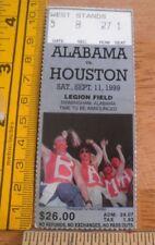 1999 University of Alabama vs Houston football ticket Bama