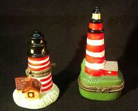 Vintage Lighthouse Pillbox Trinket Box LOT OF 2 Hand Painted Hinged
