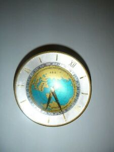 Vintage IMHOF Swiss 15 Jewels 8 Day Desk Top World Time Globe Clock