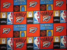 OKLAHOMA THUNDER CHECKED NBA LICENSED QUILTING COTTON FABRIC FQ