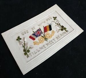 Unissued World War One Sweetheart's French Silk Postcard..