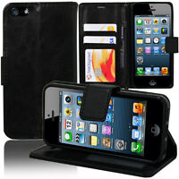 Etui Coque Housse Portefeuille Support Video Cuir NOIR Apple iPhone 5SE/ SE