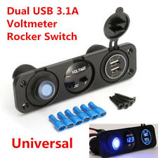 Universal Car SUV Blue LED Dual USB 3.1A Car Charger Rocker Switch 12V Voltmeter