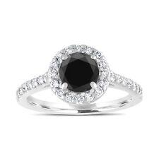 Enhanced Black Diamond Engagement Ring 1.59 Carat 18K White Gold Halo Pave