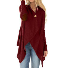 Size 6-20 Womens Button Irregular Cardigan Coat Ladies Long Sleeve Pullover Tops