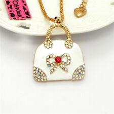 Lady White Enamel Crystal Portable Wallet Pendant Betsey Johnson Chain Necklace
