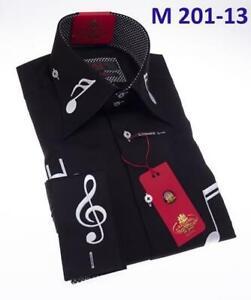 Men AXXESS Soft Cotton Shirt Spread High Collar Long Sleeves Music Notes Black