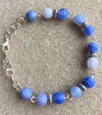 Blue/ Lilac Dragon Veins Agate and Silver Plated Bracelet