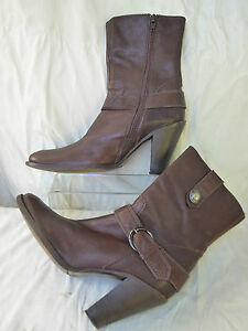 MINELLI Boots bottines style santiag 100 % Cuir marron talon t 37 parfait état