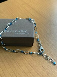 Silpada Sterling Silver Oval Link Blue Bead Anklet Ankle Bracelet A1918 RARE HTF