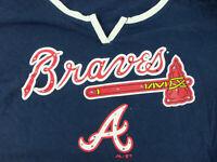 Womens Nike XXL V-neck Atlanta Braves Short Sleeve Shirt Rhinestones