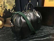 "LOUIS VUITTON 18"" France Black Custom Leather Duffle Boston Travel Bag Strap"
