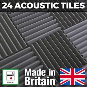 24 x Grey Thick Acoustic Foam Tiles - 300mm Studio Sound Proofing Foam Treatment