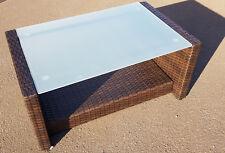 Tisch für Garten Garnitur Kaffeetisch 85x52,5x39 cm Gartenmöbel Polyrattan braun