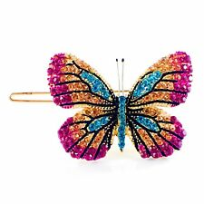 USA BUTTERFLY Hair Clip Hairpin use Swarovski Crystal Elegant Unique PINK B-6