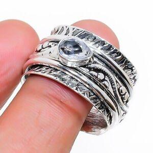 White Topaz Gemstone Ethnic Handmade Gift Jewelry Spiner Ring Size 10 P773