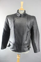 SUPERB QUALITY LEATHERMAN OF LONDON CLASSIC BLACK LEATHER BIKER JACKET 40 INCH