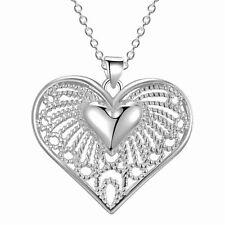 925 SILBER pl. Kette Medaillon Halsketten Damen Anhänger Silberherz Herz Collier