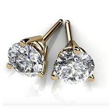 Round Solitaire Earrings 1.00 Ct Diamond Pure 14K Yellow Gold Studs