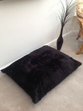 Adults / Child Floor Cushion Filled Black Faux Fur Large 3cf Size Luxurious New