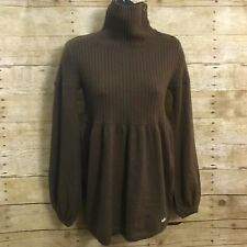 Adidas Sweater Small Brown Button Up Collar Ribbed Top Iridescent Trefoil Womens