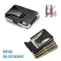 Men Credit Card Holder Wallet Gifts RFID Blocking Slim Money Clip Carbon Fiber