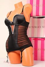 NWT S Victoria's Secret Lingerie Bustier Garter Jewel Corset Push-up 34C Black
